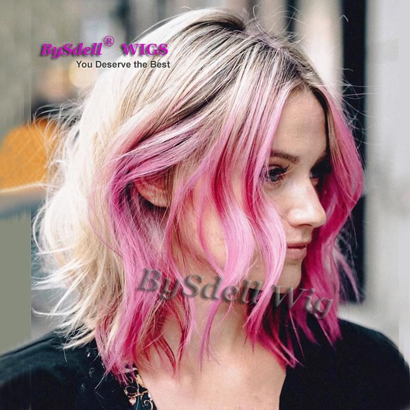 short bob wig layered cut synthetic lace front wig black roots ombre blonde 27#/613# Highlight Rose Purple color natural hair wigs
