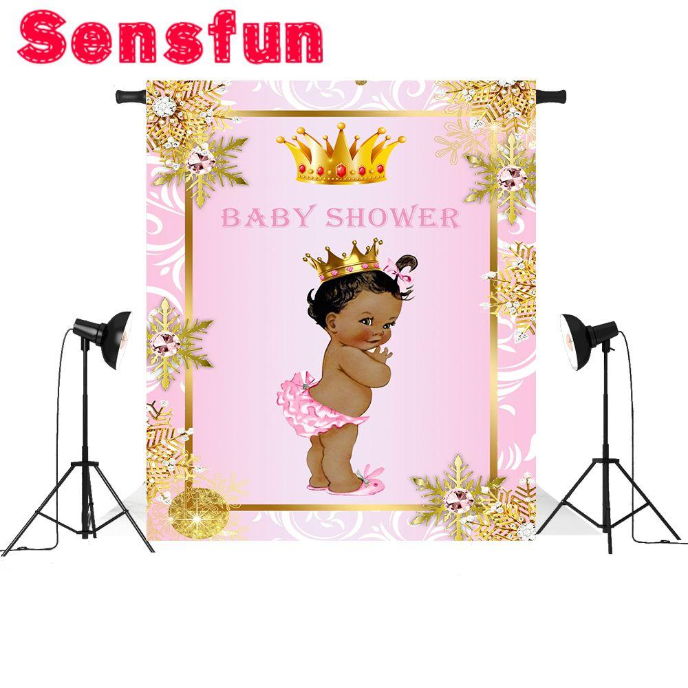 الوردي جدار الذهب تاج استحمام الطفل خلفية الاطفال عيد مخصص التصوير استوديو الخلفيات صورة الخلفيات 5x7ft