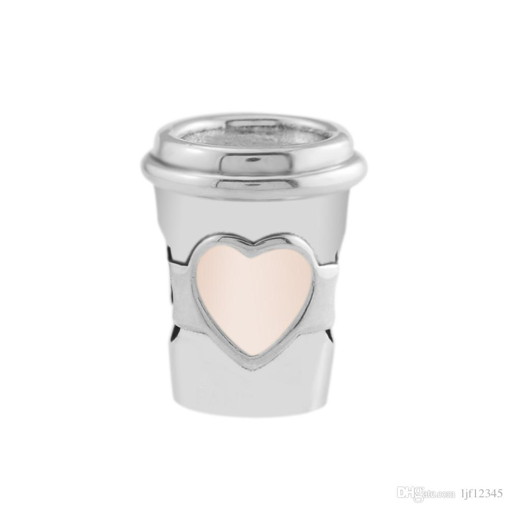 Pandulaso Drink To Go Charm Cup Shape Bead Fit For Original Charms 925 Silver Bracelets For Woman DIY Fashion Beads For Jewelry Making