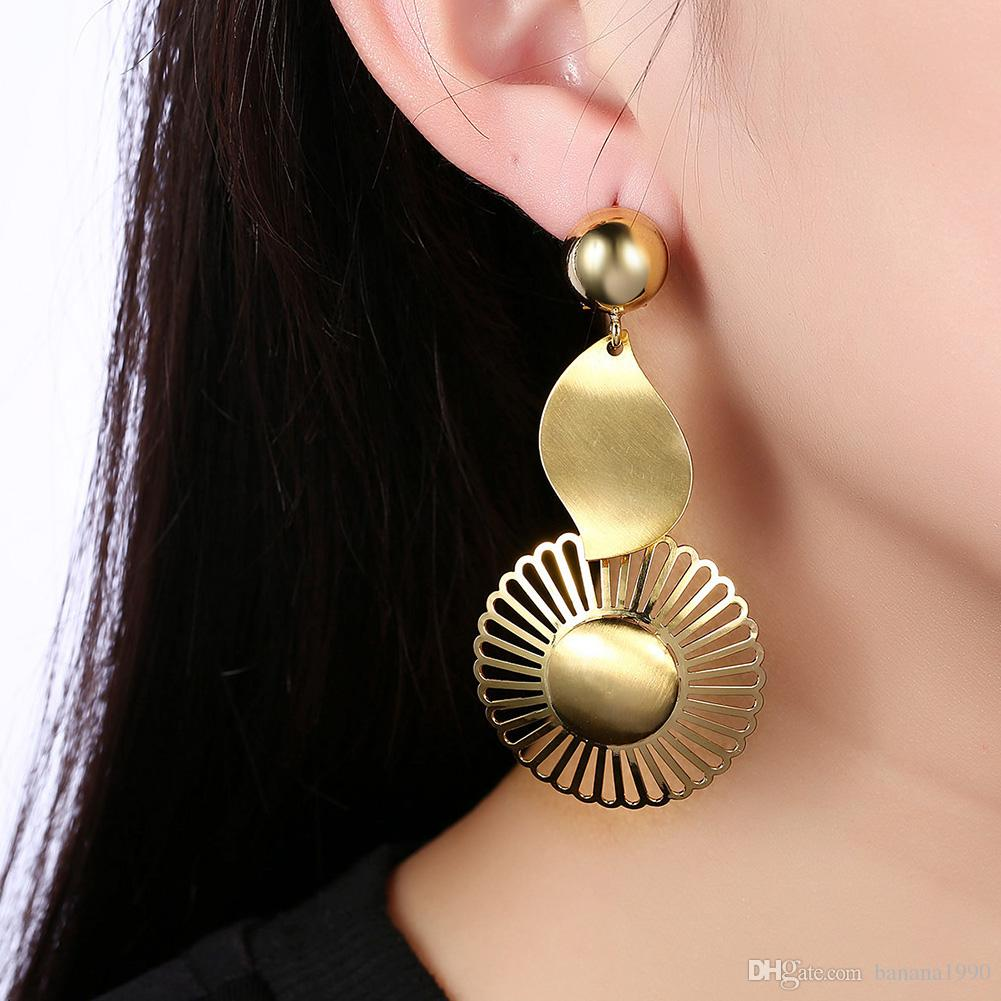 Boho Fashion Africa Women Dangle Statement Earrings Jewelry 18k Gold Filled Geometric Round Mesh Copper Free Allergy Drop Shipping
