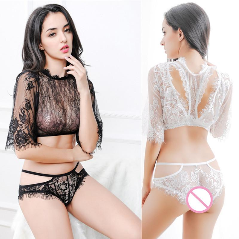 Eyelash Lace Crop Cami Top With Shorts Set Babydolls Short Sleeve Summer Women Suits Beach Two Piece Set 2 Colour Sexy Lingerie