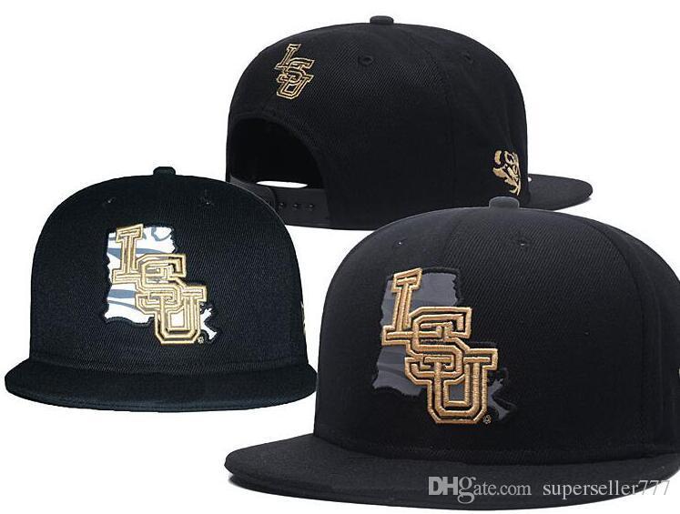 NCAA LSU Tigres Bonés 2018 New College Chapéus Ajustáveis Todos Universidade Snapback em estoque Mix Match Atacado Ordem Cinza um tamanho roxo