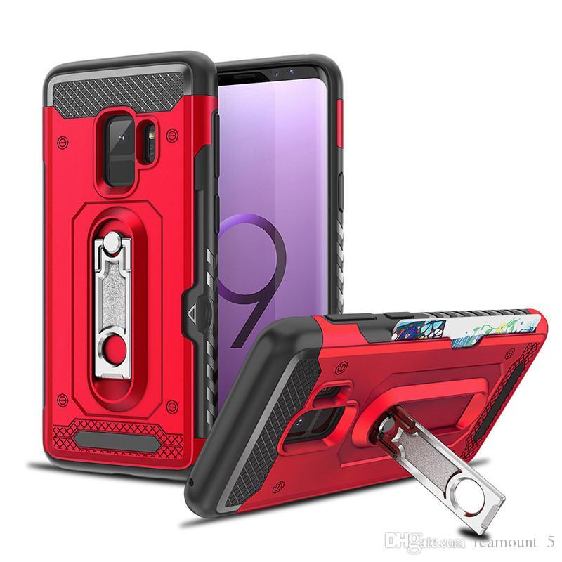 Luxus rüstung telefon case für samsung s9 mit metall ständer 2 in 1 abdeckung für samsung s8 s7 plus zurück phone case