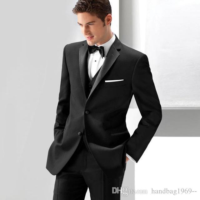 UGFashions Mens Black Two Button Three Piece Suit