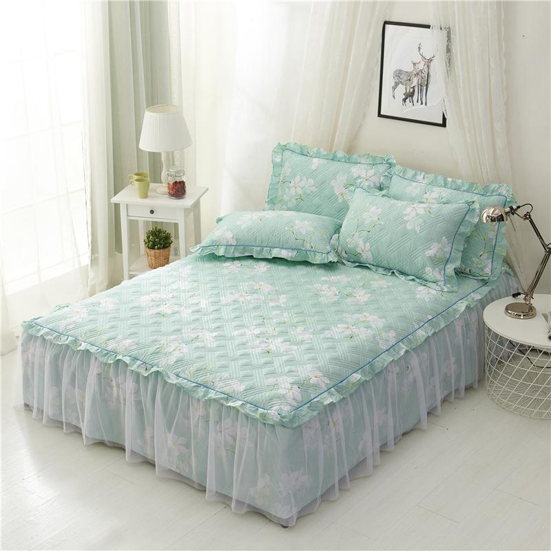 nice shoes best website cheap sale Pink Blue Princess Bed Skirt Twin Full Queen King Size Bed Sheet Lace  Ruffle Mattress Cover Set 90/100/120/140/150/160x200cm Detachable Bedskirt  ...