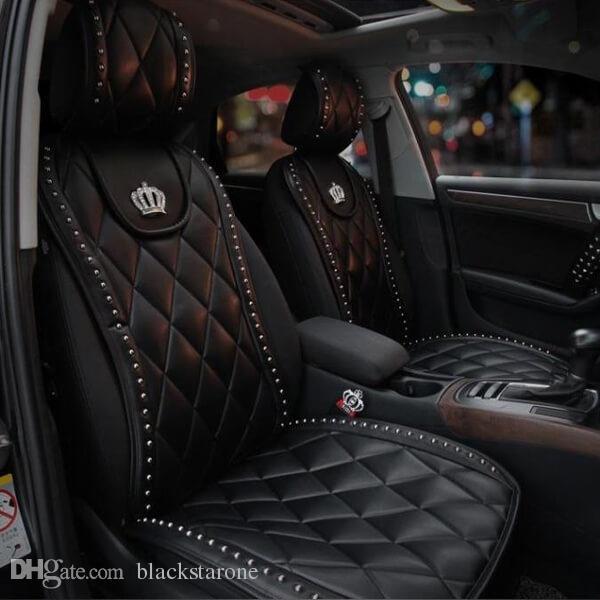 شفاف 1 قطع دائم الناعمة مادة جلدية تاج سيارة الداخلية غطاء مقعد وسادة وسادة حصيرة تاج لوازم السيارات (أسود أبيض)