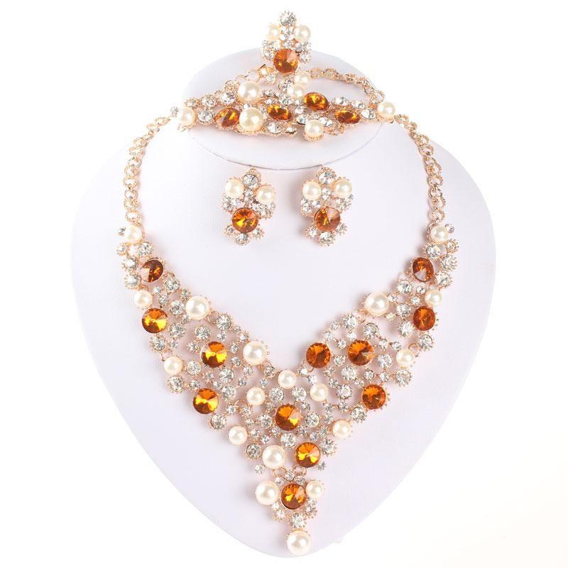 Set gioielli in oro africano placcato oro collana di perle orecchini set per le donne accessori da sposa
