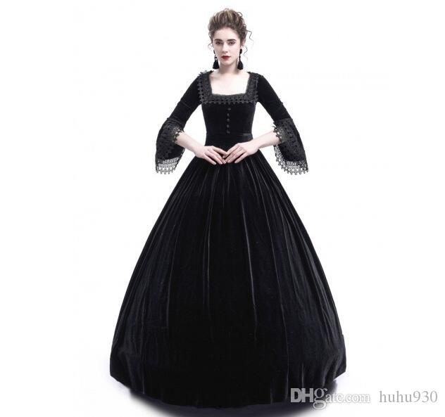 2018 Autumn Women Retro Vintage Long Sleeve High waist Dresses Cotton Renaissance Victorian Gothic Ruffle Medieval Dress Costume