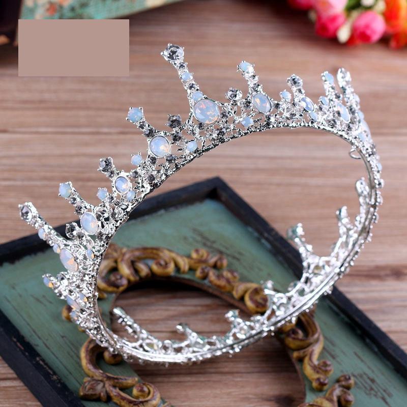 Wedding Hair Accessories Jewelry Baroque Big Full Round Bridal White Rhinestone King Queen Crown Prom Pageant Bride Tiara Crowns