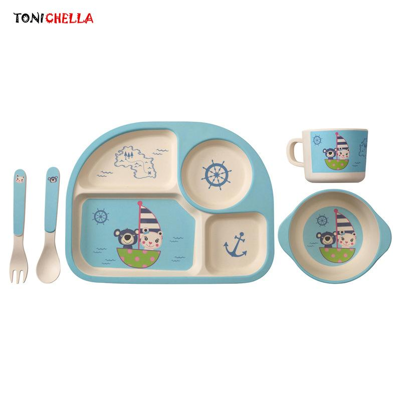 Baby Bamboo Fiber Tableware Children Dinner Dishes Set Include Tray Bowl Spoon Fork Cup Cartoon Pattern Feeding Container T0394