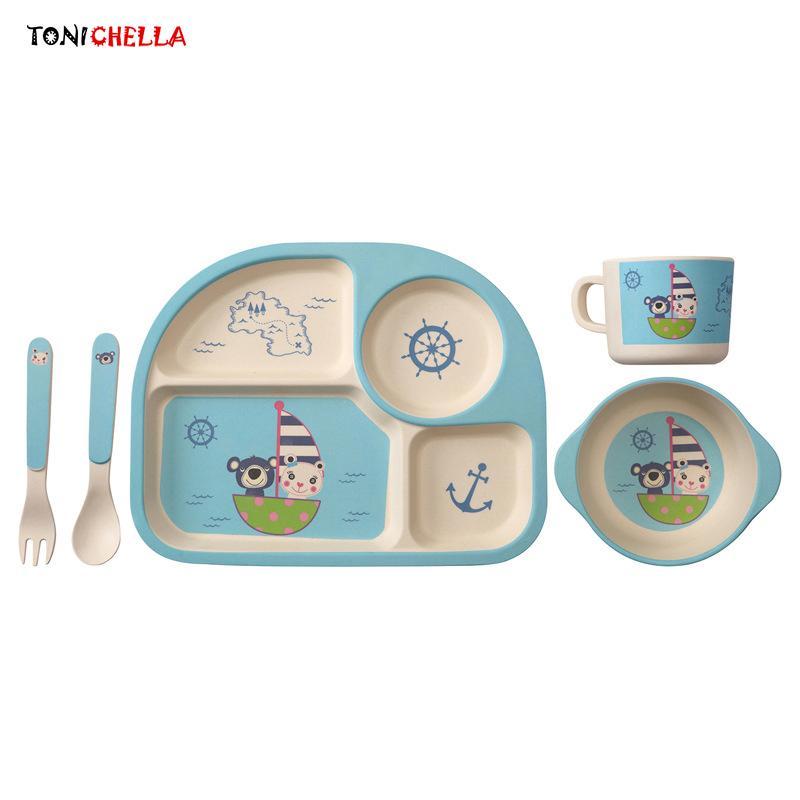 Baby Bambusfaser Geschirr Kinder Abendessen Gerichte Set Tray Bowl Löffel Gabel Tasse Cartoon Muster Fütterung Container T0394