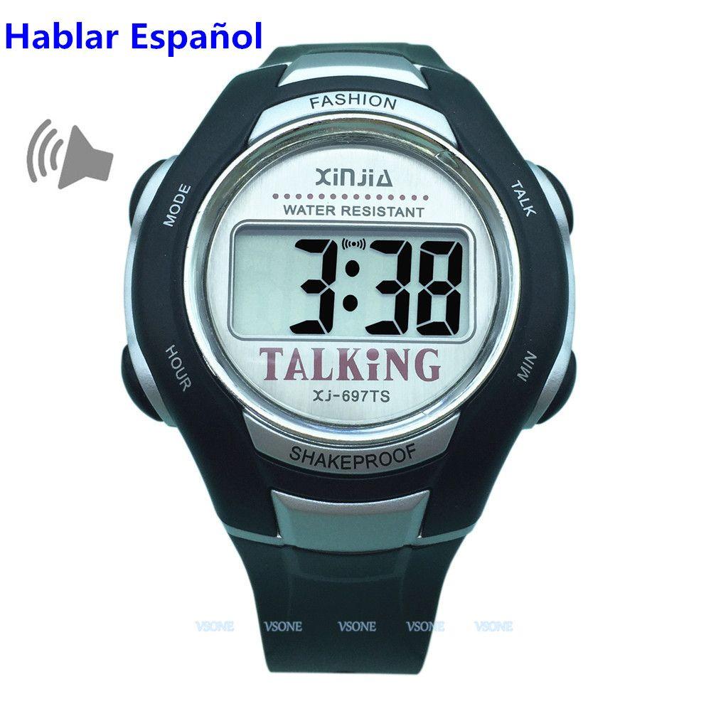 Spanisch sprechende Uhr für Blinde und ältere elektronische Sportuhren