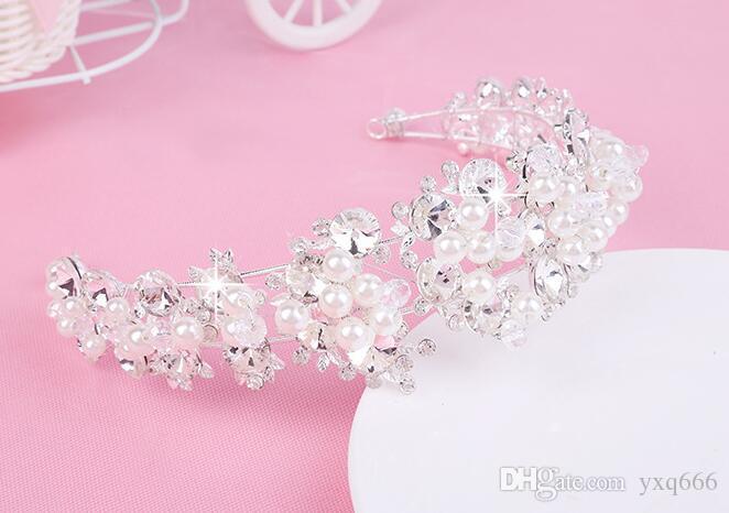 Simple bridal crown tiara Korean handmade pearl rhinestone crown jewelry hair band wedding headdress jewelry