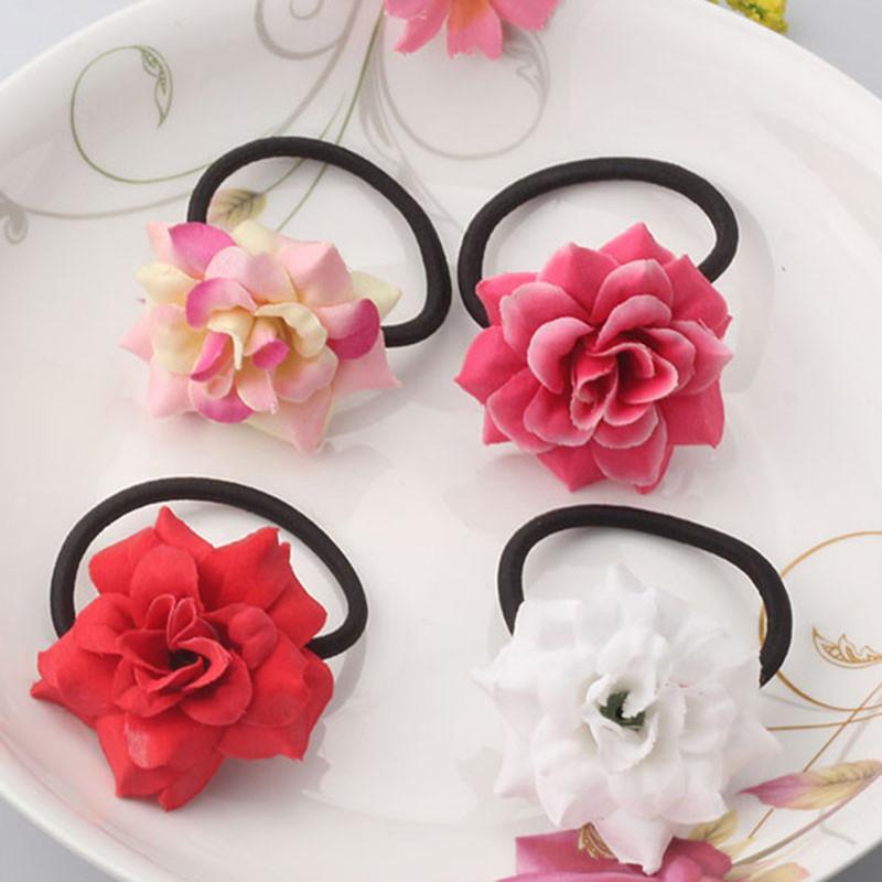 MISM Verão Novas Meninas Acessórios Para o Cabelo Do Bebê Peônia Tecido Flor Elástico Faixa de Cabelo Princesa De Seda Crianças Scrunchy Ornaments Bonito