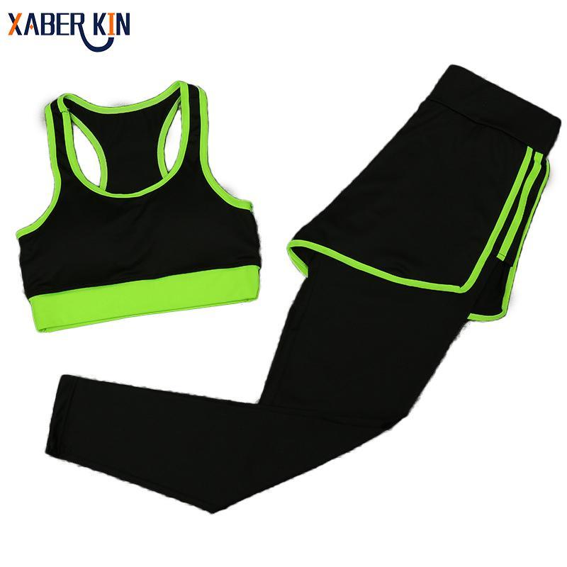 Kadınlar Yoga Fitness Spor Setleri Spor Egzersiz Spor 2 adet / takım Eşofman Sutyen + Baskılı Yoga Pantolon Spor Tayt CT010-CGR1 Suits
