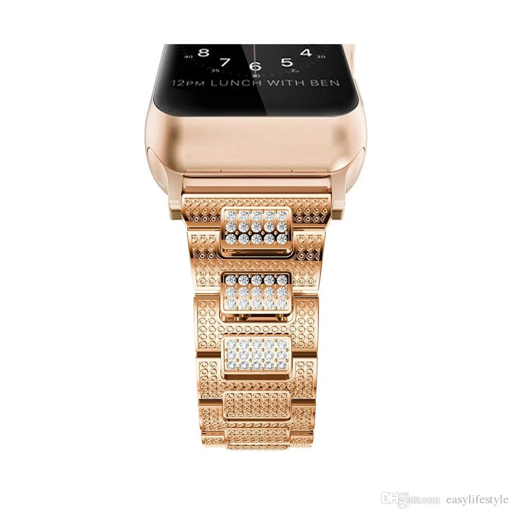For apple watch band rose gold rhinestone diamond crystal bracelet stainless steel material for apple watch 4 5 series 3 2 1
