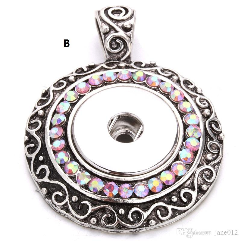 Snap Button Pendants Jewelry with Crystal Round Circle Pattern Noosa Pendants Without Chain Mix Order Wholesale