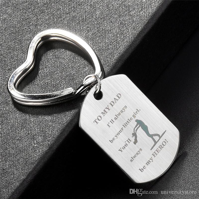 To My Dad My Key Ring Jewelry Stainless Steel Women Keychain Keyring Silver Key Chain Bag Accessories