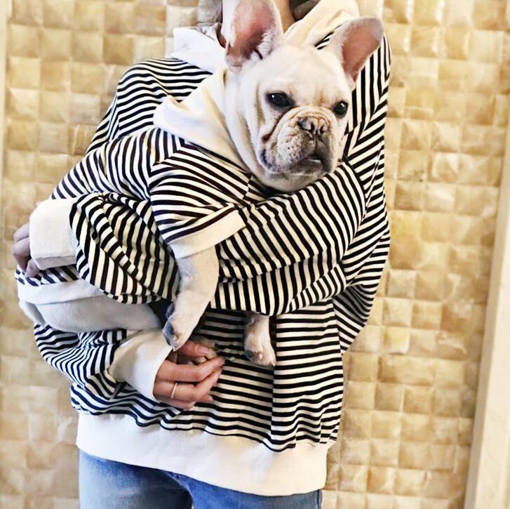 جديد الملابس الحيوانات الأليفة مخطط للكلاب الصغيرة الفرنسية البلدغ القطن معطف هوديس الزي S إلى 4XL