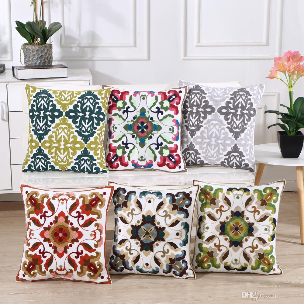 Home Decor Индия вышивка геометрическая наволочка старинные серый цветок наволочка декоративные наволочка подушка Sham 45x45cm