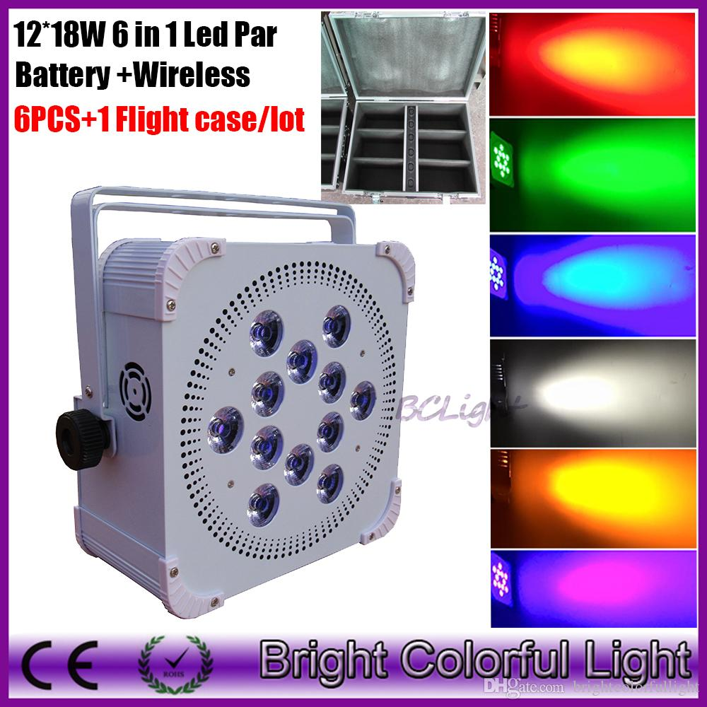 wireless battery powered led uplights 12*18W RGBAW+UV 6 in 1 battery led stage light for wedding events 6 pcs with road case