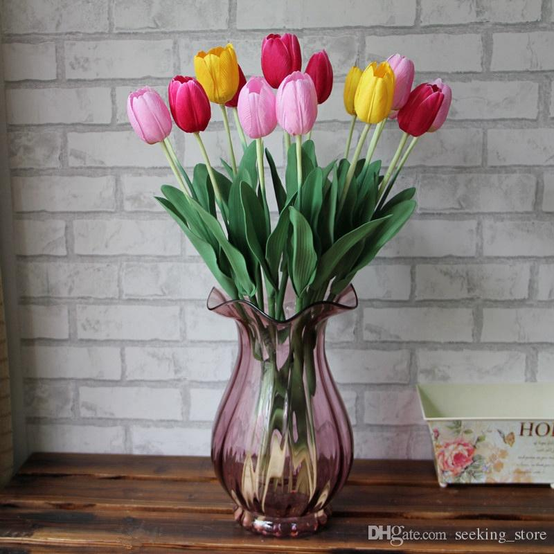 200pcs Latex Tulips Artificial Flower Silk Bouquet Real Touch Flowers For Home Decoration Wedding Decorative Flowers 7 Colors Option