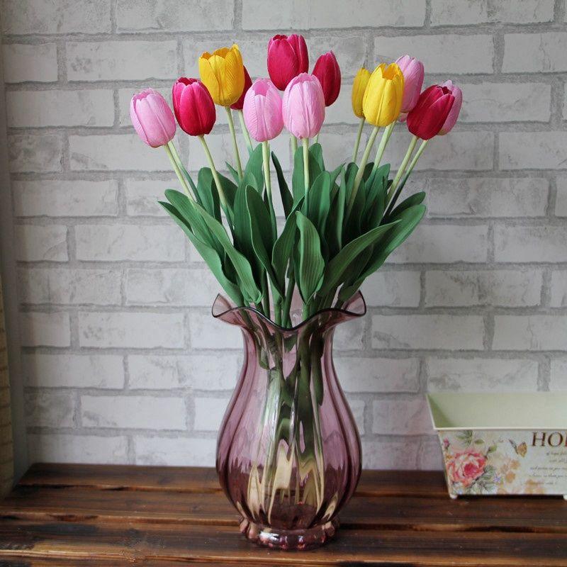 200 pcs Tulipas De Látex Flor Artificial Bouquet De Seda Real Toque Flores Para Decoração de Casa de Casamento Flores Decorativas 7 Cores Opção