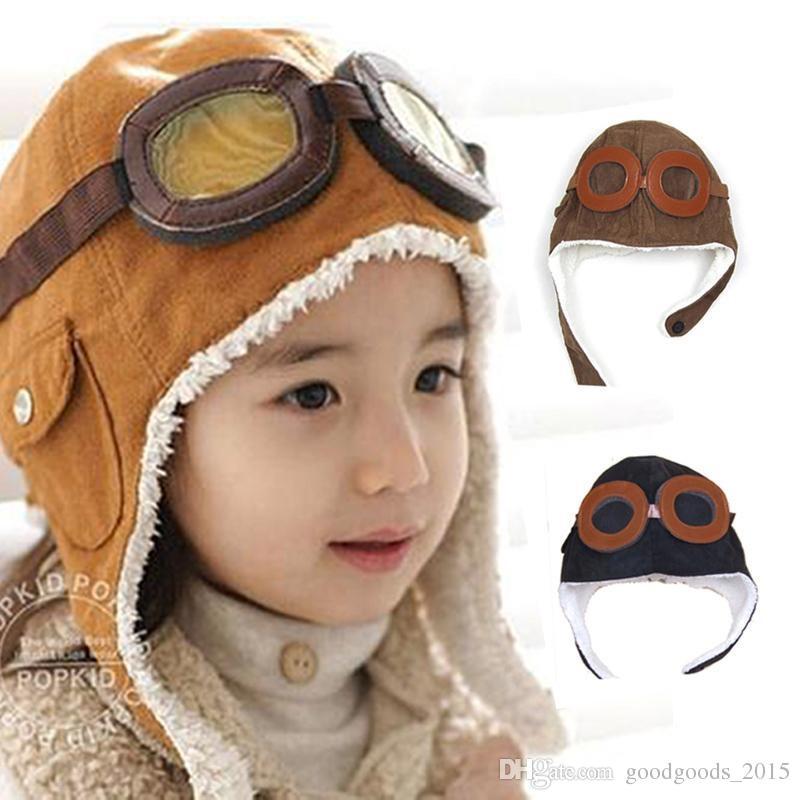 Wholesale winter baby earrings baby boy girl child pilots pilots cap warm soft beans hats kids warm neutral peas