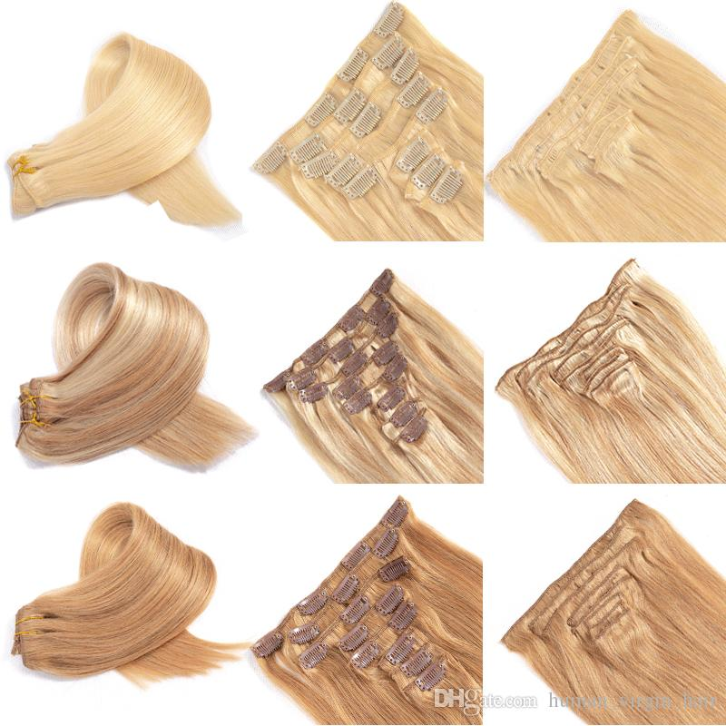 8 Pcs Clip In Hair Extensions Straight Brazilian Virgin Human Hair Vendors Wholesale 1b# 2# 4# 27# 613# 27#613Clip Hair Extensions