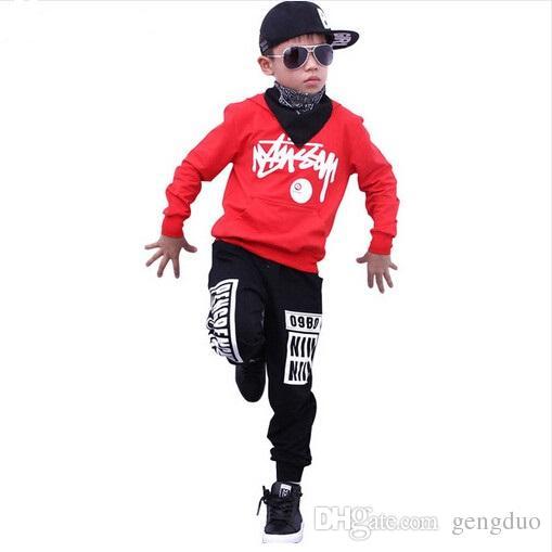 Boys Hoodie Sweatshirts and Pant Sets Girls Street Dance Clothes Kids Hip Hop Costumes Dance Wear Children Sport Suits