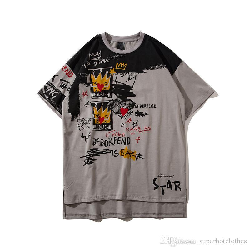 2018 Moda Dikiş mektubu Baskılı erkekler Yaz Gevşek kısa kollu T gömlek casual erkekler uzatmak Hip-Hop Pamuk t shirt