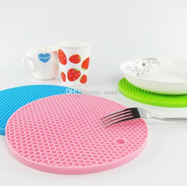 2018 Newly Round Silicone Non-Slip Heat Resistant Pot Table Mats Holder Coaster Cushion Placemat Pot Table Mat Silicone Placemat