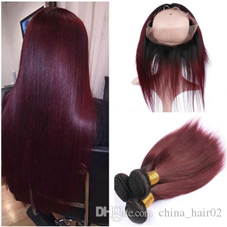 Straight 1B/99J Burgundy Ombre Full Frontals 360 Band Lace Closure 22.5x4x2 with 3Bundles Wine Red Ombre Virgin Indian Human Hair Extensions
