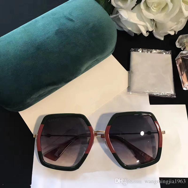 Moda de lujo mujeres diseñador de la marca gafas de sol 0106 Square Big Frame Summer generoso estilo Mixed Color Frame calidad superior protección UV lente