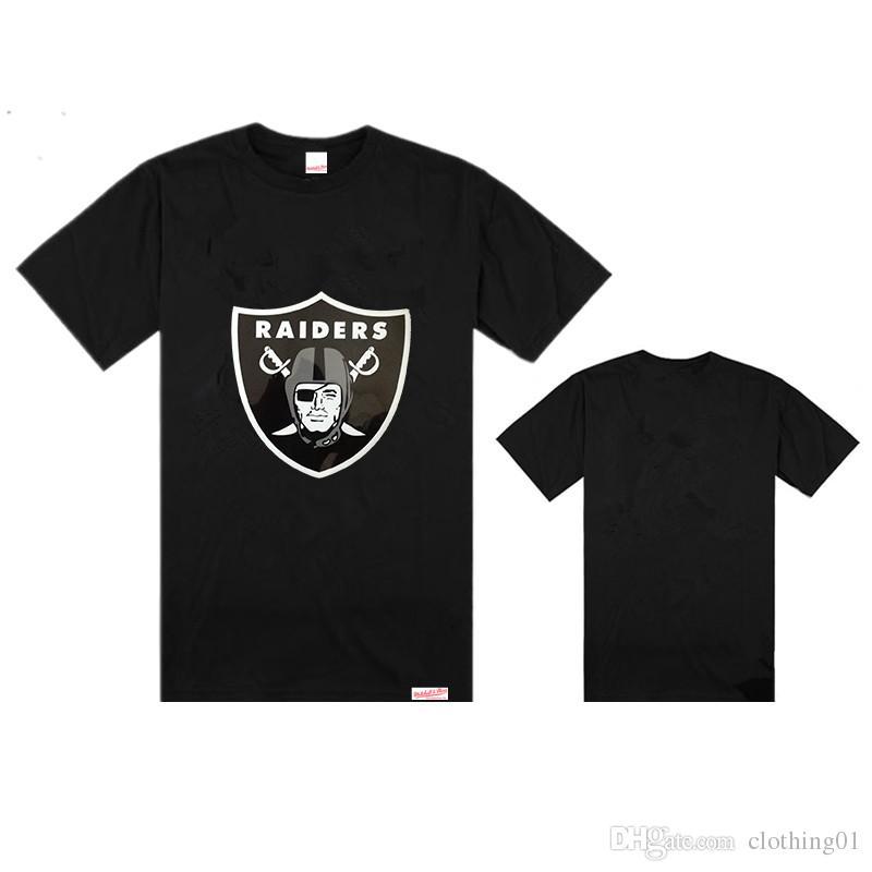 2019 nueva venta al por mayor bordado negro Oakland Raider camiseta al aire libre verano hombres baloncesto manga corta viseras sol camisa de mujer barata