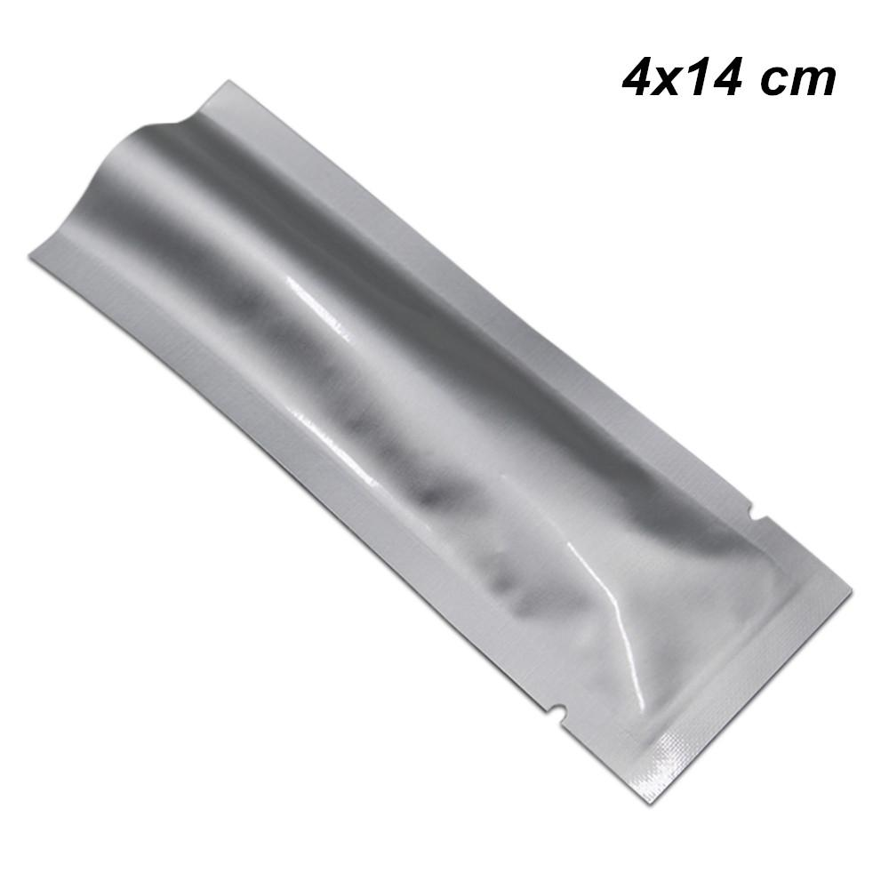 4x14 см 200pcs Лот Open Top Чистого алюминиевая фольга Плоского Упаковка Мешок Вакуум Майларовая Фольга Термическая печать хранение продукты Упаковка чемоданчика для сахарной Nuts