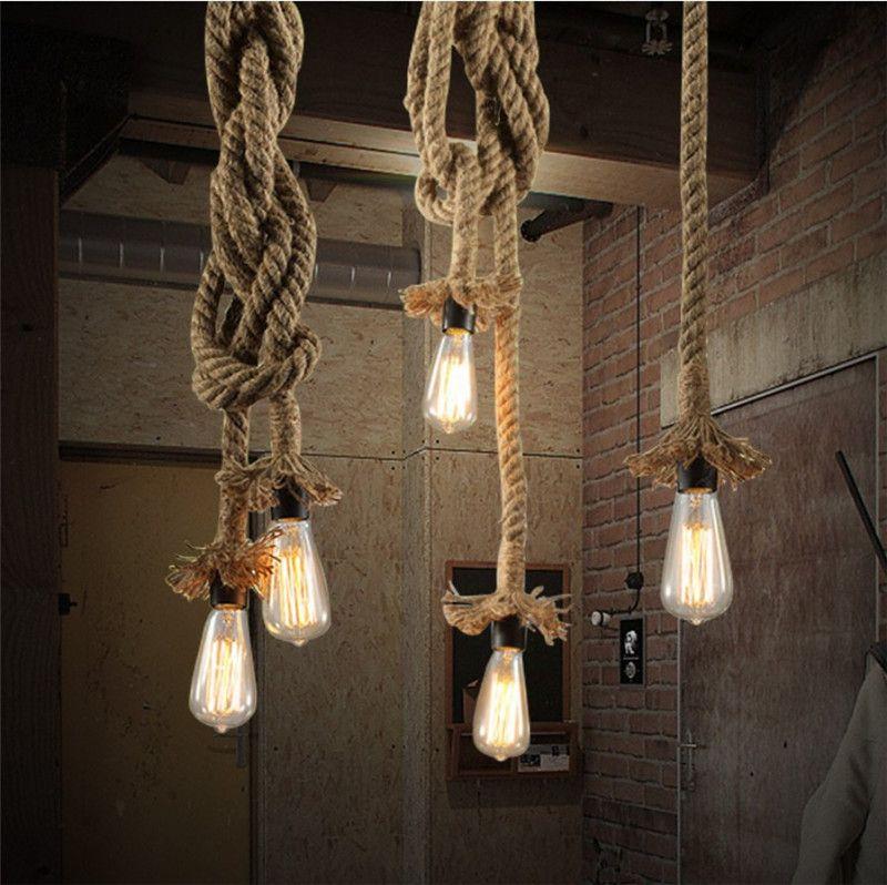 Yemek için Kişilik Halat Işık Kolye Yaratıcı Retro Vintage Lambası Loft Sanayi Lambası 1 / 2Meter Odası, Destek Ajan Bırak Gemi Yatak Living