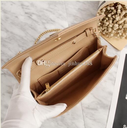 2018 hgih kalite moda marka kadın debriyaj Hakiki deri bej-omuz çantası * 22.5 cm zincir çanta rahat açık çanta