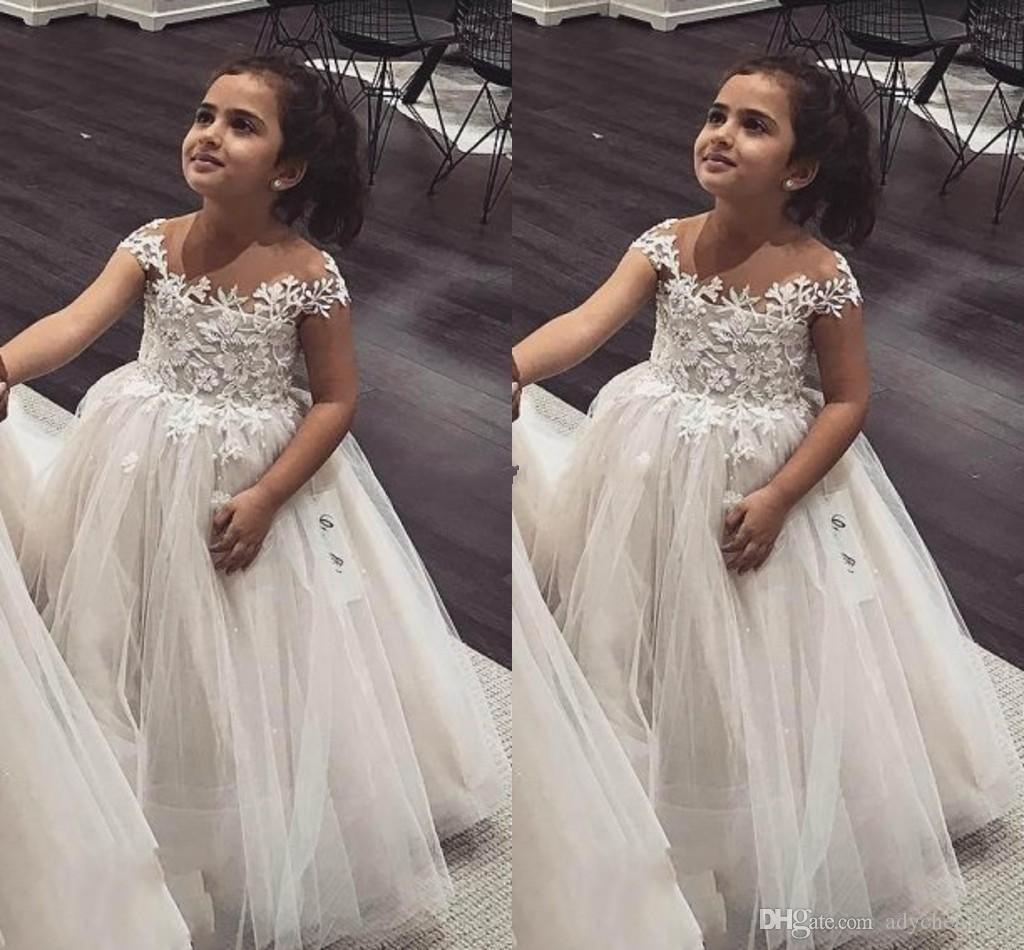 Robe de Bal Fleur Filles Robes Sheer Neck Cap Manches Dentelle Tulle Princesse Enfants Robes De Mariée Infant Toddler Birthday Party Dresses