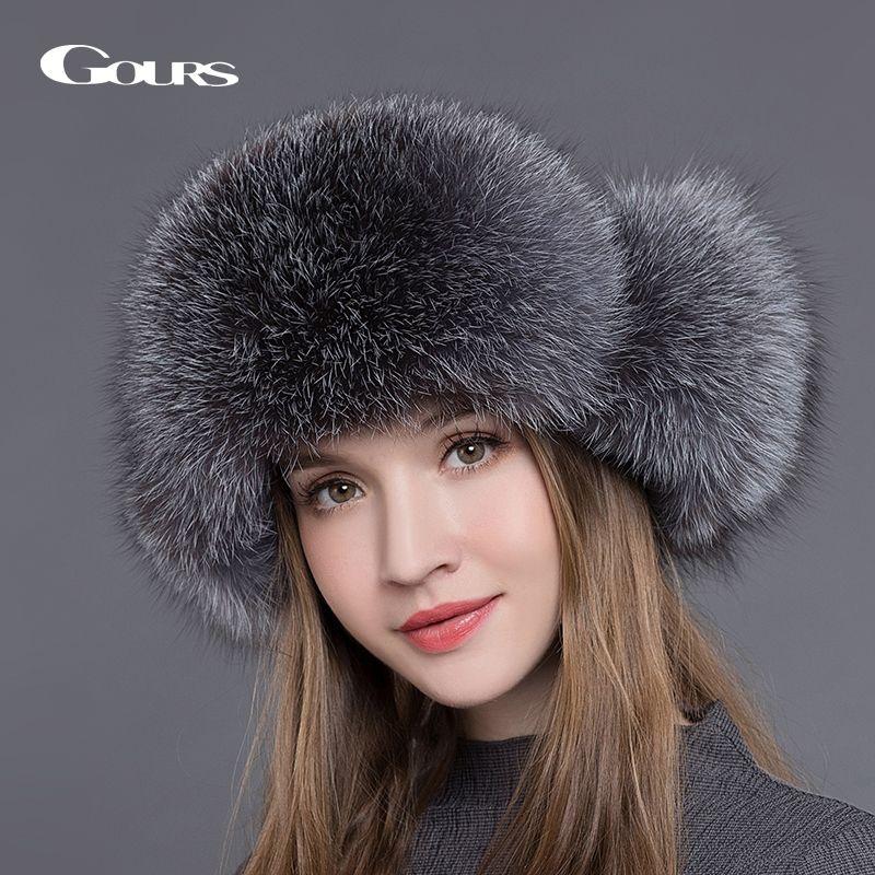 Gours Fur Hat for Women Natural Raccoon Fox Fur Russian Ushanka Hats Winter Thick Warm Ears Fashion Bomber Cap Black New Arrival C18111601