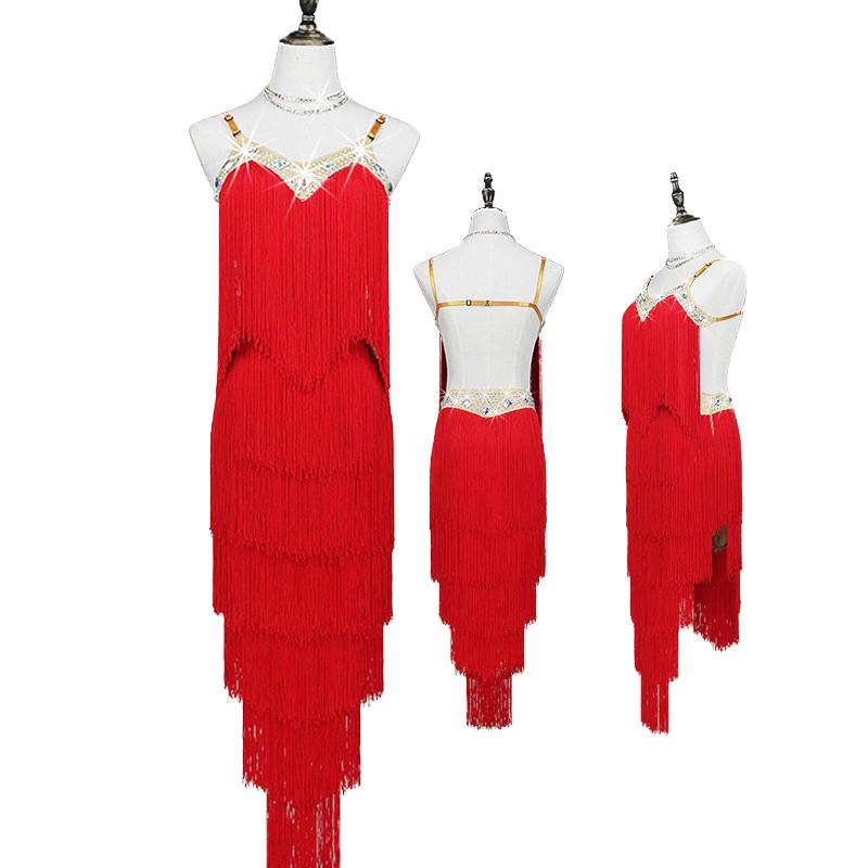Latin Dance Dress Professional Competition Tassel Dresses Salsa Samba Cha Cha Dancing Clothes Performance Dancewear Women DN2363