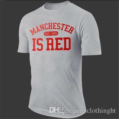 Manchester kırmızı Yüksek kaliteli kısa kollu tişört yaz yeni mektup baskı tişört XL 2XL boyut erkek / kadın giysileri pamuk Swea olduğunu