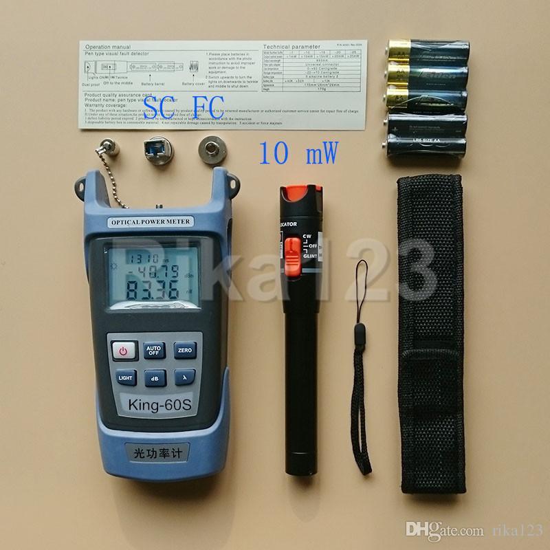 2-in-1-FTTH-Toolkit 10 mW-Glasfaser-Teststift für die visuelle Fehlersuche und optisches Leistungsmessgerät King-60S OPM -70 bis +10 dBm