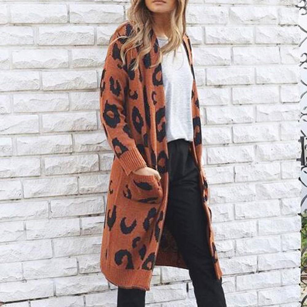 ISHOWTIENDA 카디건 여성 스웨터 2,018 긴 플러스 사이즈 카디건 스웨터 캐주얼 표범 무늬 코트 여성 Sueter Mujer