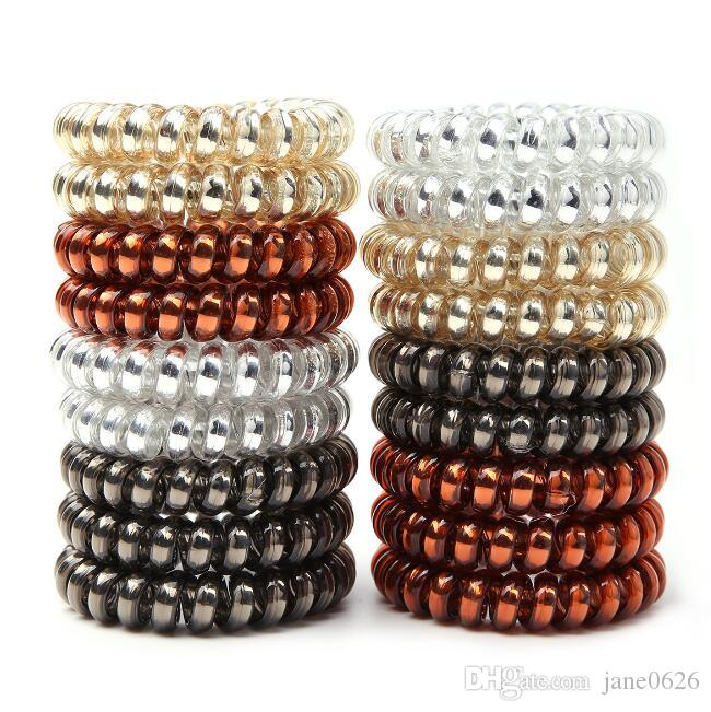 4 Colors Telephone Wire Cord Headbands for Women Elastic Hair Bands Rubber Ropes Hair Ring Girls Hair Accessories Wholesale