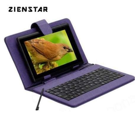 Língua inglesa mini caso do teclado para 7 polegadas android tablet micro usb teclado com pu couro stand case