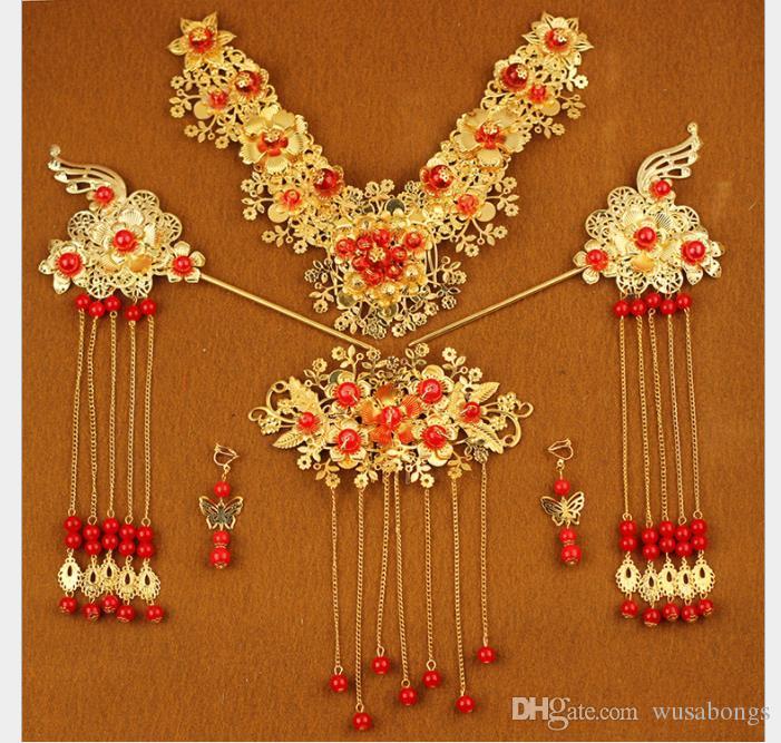 Traje de novia, gorro, conjunto de accesorios de boda chinos, accesorios de dragón y vestido de fénix.