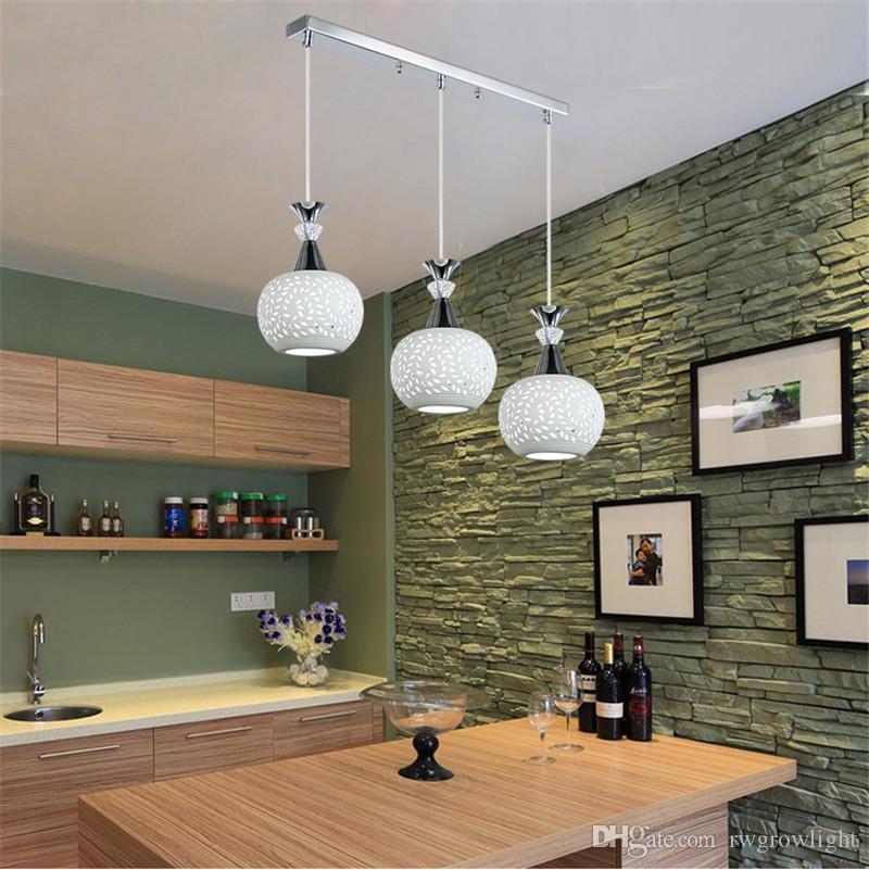 Moda moderno comedor Iluminación en la alcoba de la lámpara pendiente creativo 3Jefe restaurante de la lámpara LED de café de la barra del accesorio ligero