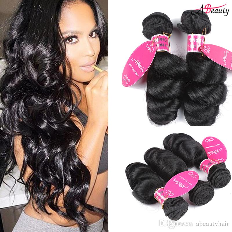 Indian Virgin Human Hair Extensions Nature Black Indian Loose Wave Virgin Hair Bundles Unprocessed India hair Weaves