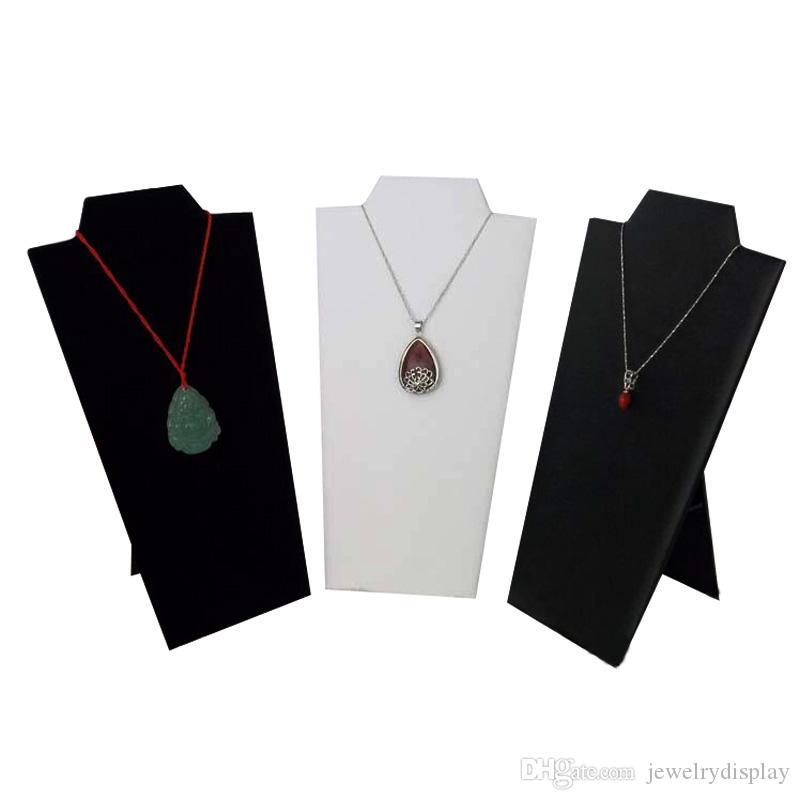 """Collar Expositor Collar soporte terciopelo negro 8 1/2 """"Cuero blanco y cuero negro"""